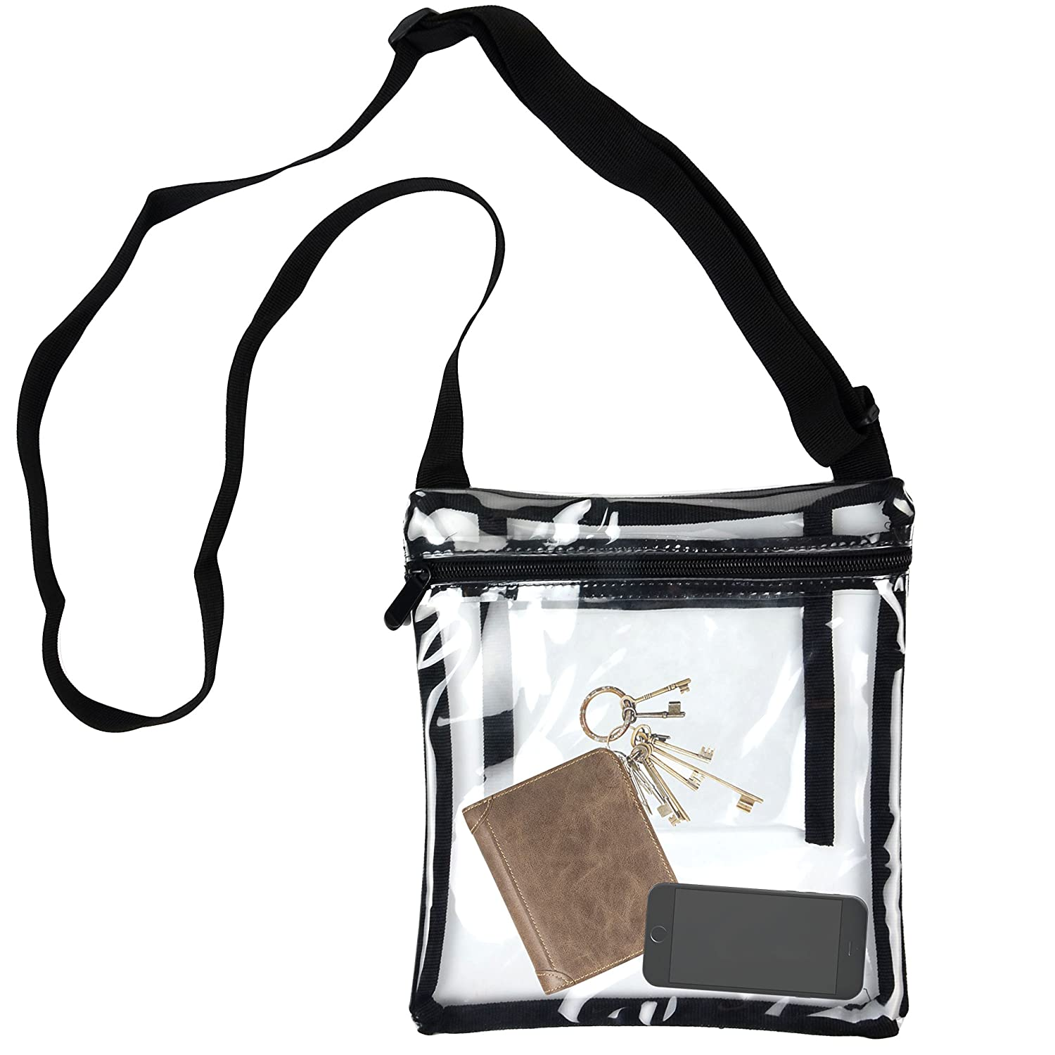 Youngever Clear Cross-Body Purse Stadium Approved Clear Vinyl Bag Extra Inside Pocket/… Adjustable Cross-Body Strap