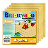 Brickyard Building Blocks 4 Sand (Tan) Baseplates, Improved Design 10 x 10 Inches Large Thick Base Plates for Building…