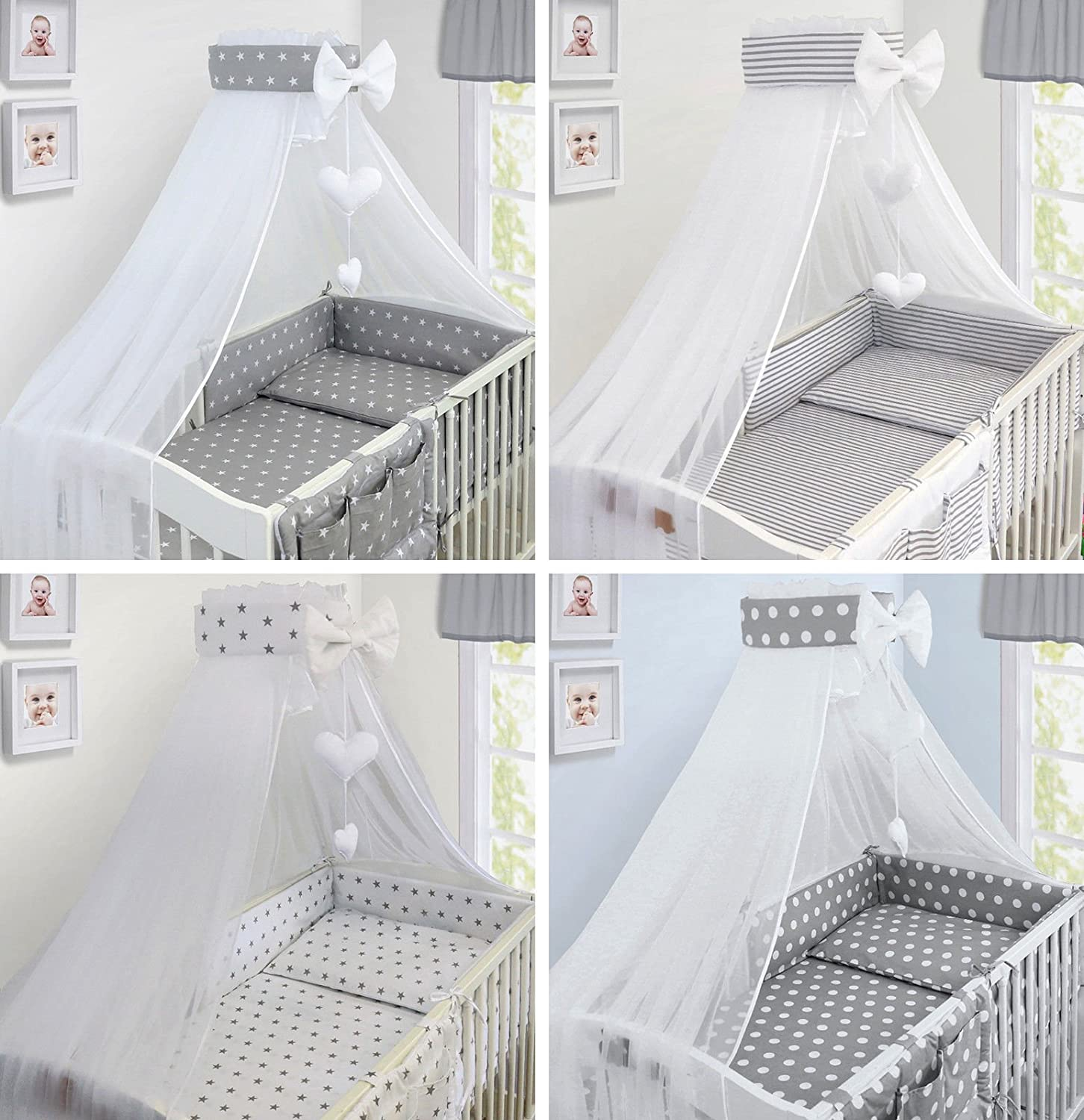 Stars Grey LUXURY 10Pcs BABY BEDDING SET COT BED PILLOW DUVET COVER BUMPER CANOPY to Fit Cot Bed Size 140x70cm 100/% COTTON