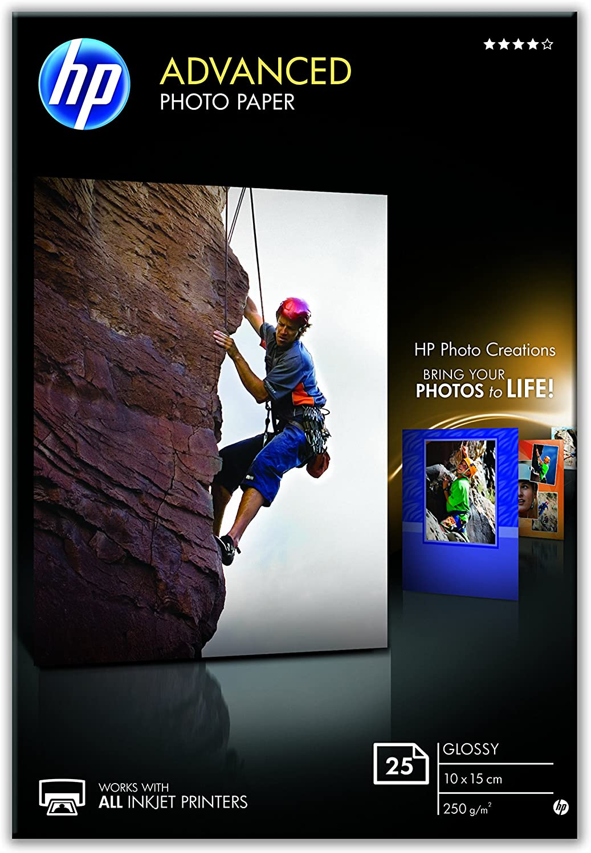 HP Q8691A 10 x 15 cm Advanced Glossy Photo Paper, Borderless, 250 GSM,White, 25 Sheets