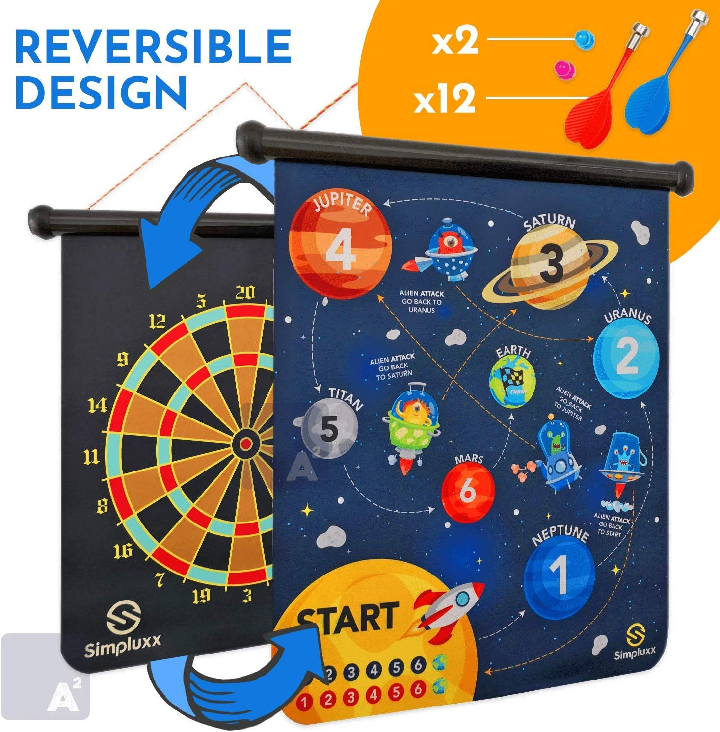 SIMPLUXX Premium Magnetic Dart Boards - Classic, Space and Monster Themed Safe and Fun Magnetic Dart Board Set for Indoor or Outdoors