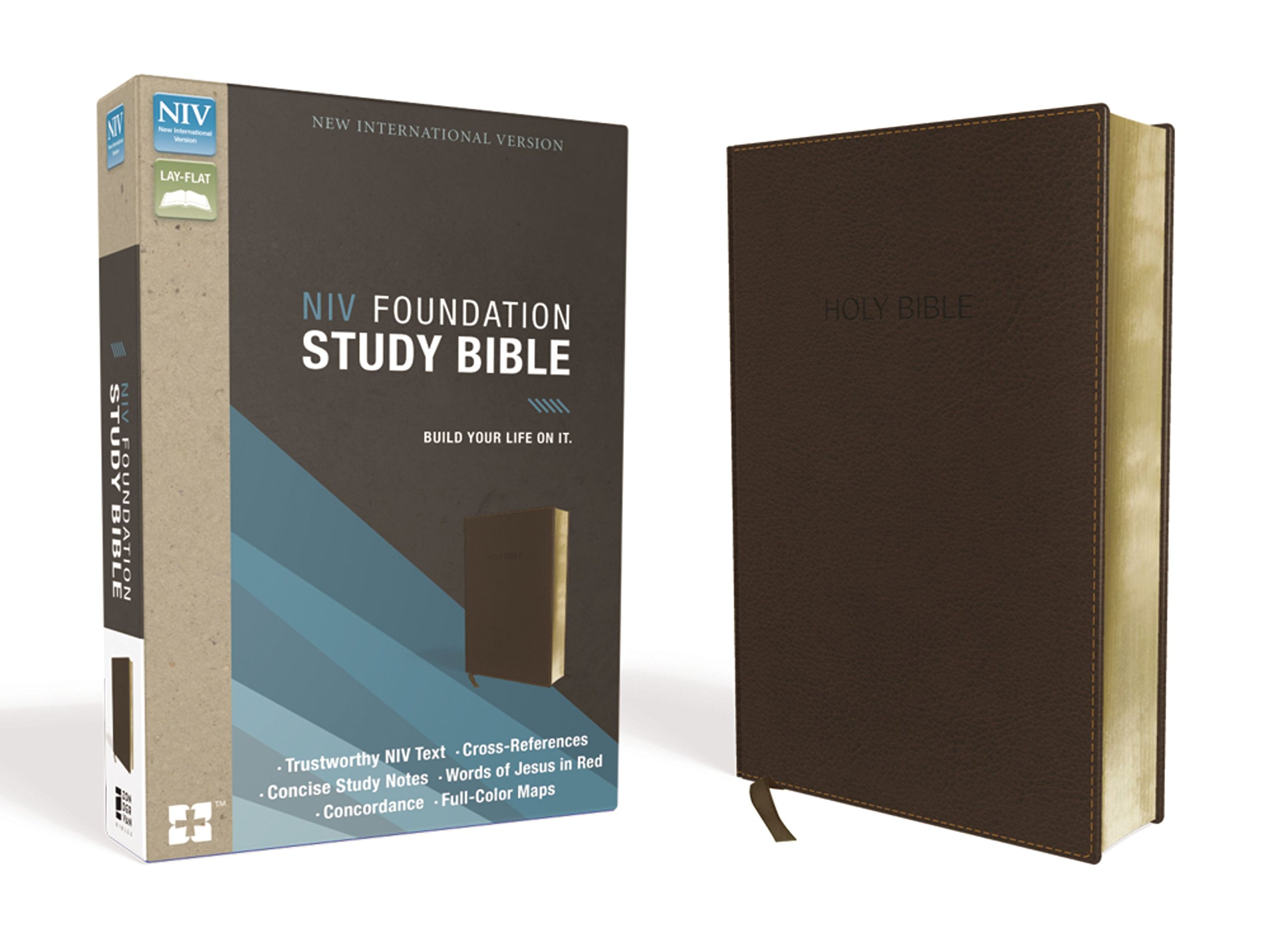 NIV, Foundation Study Bible, Leathersoft, Brown, Red Letter Edition by HarperCollins Christian Pub.