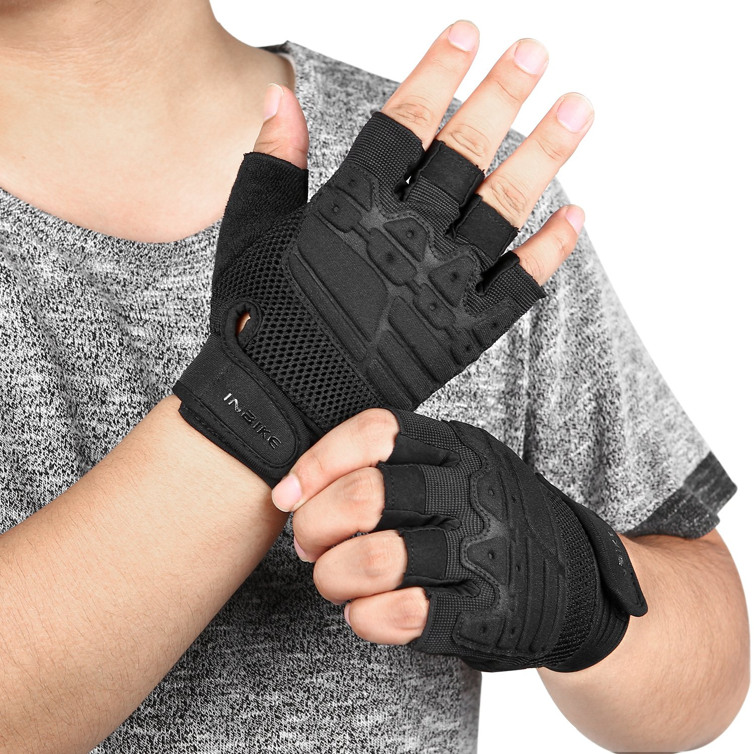 Half Finger Palm Pad Tactical Gloves Cycling Gloves Fit for Climbing//Hiking//Camping//Laser Tag//Motorcycle Men Women INBIKE Workout Gloves