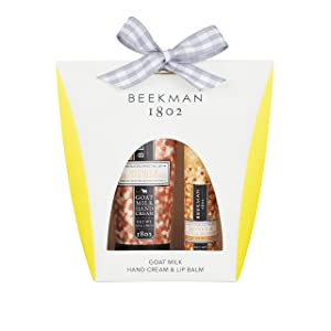 Beekman 1802 Hand Cream and Lip Balm Gift Set, Moisturizing Goat Milk 100% Natural Orange Blossom Scented Hand Lotion and Lip Balm for Dry & Cracked Skin, Lips, w/Shea Butter for Men & Women 2oz+1.5oz
