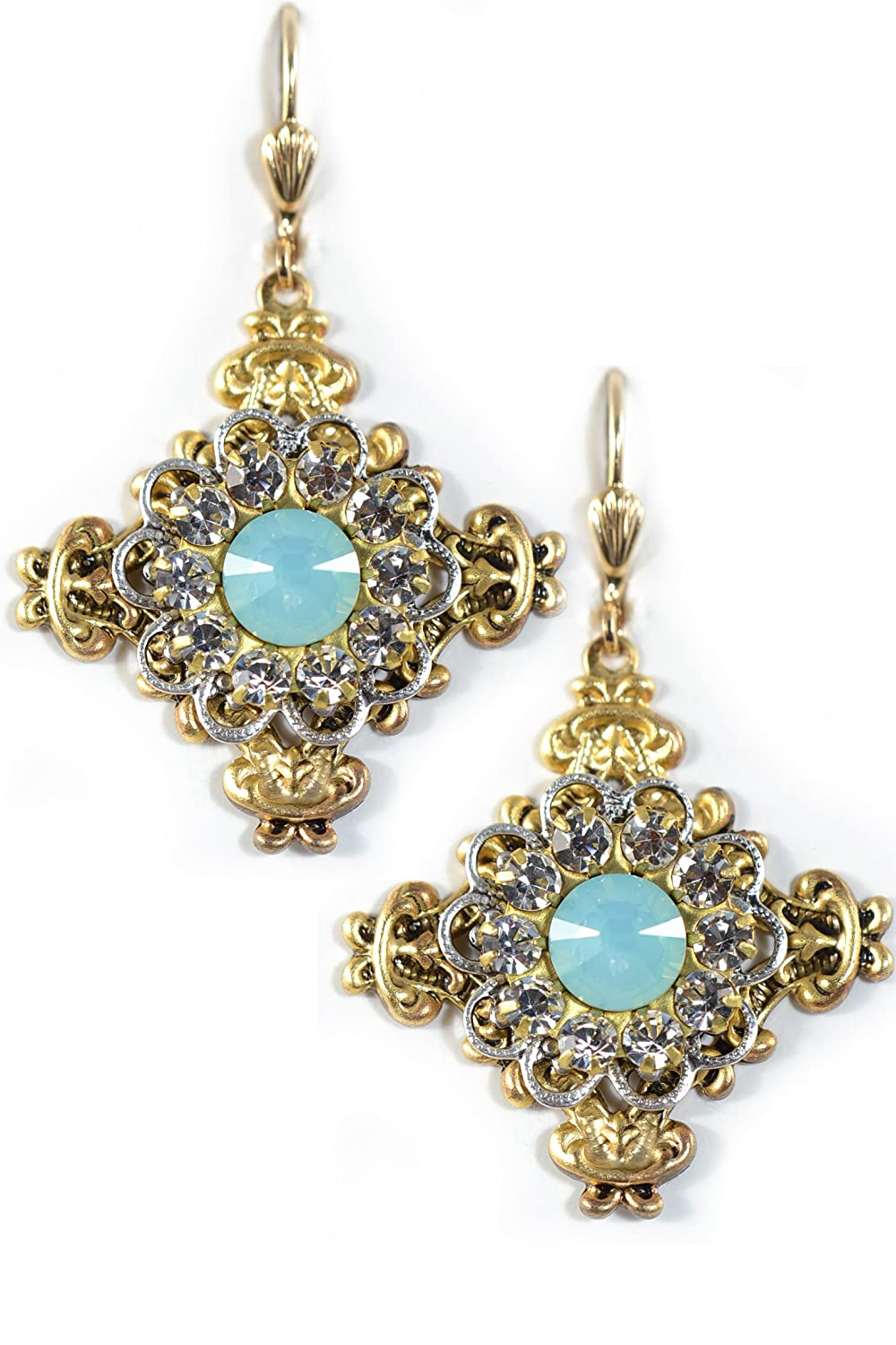 Clara Beau Lovely Pacific Opal Deco Swarovski crystal Medium Gold-Tone dangle earrings EV35