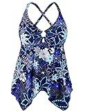 Mycoco Women's Tummy Control Front Tie Swim Top