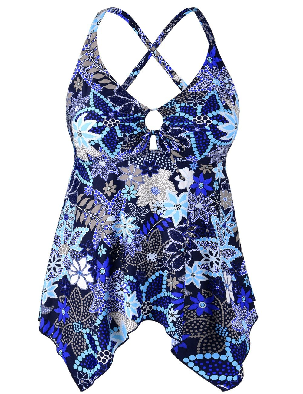 Mycoco Women's Tummy Control Front Tie Swim Top Cross Back Tankini Top Flowy Swimdress Blue Floral 20