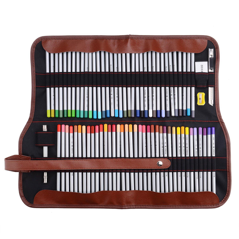 Marco Raffine 7100,72matite colorate da artista con astuccio in tela arrotolabile, per disegno, scrittura, schizzi ecc. Lightwish