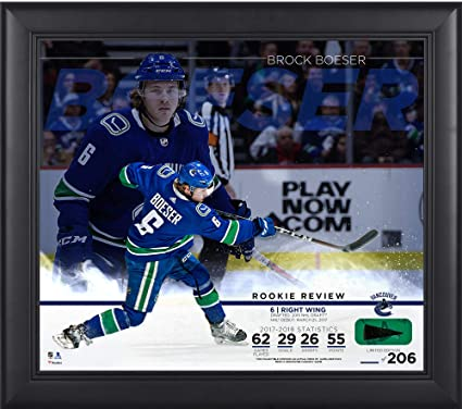 Brock Boeser Vancouver Canucks Framed 15 quot  x 17 quot  Rookie Review  Collage with Piece of 7cc9b1fa3