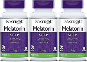 Natrol Melatonin Timed Release Tablets, 3mg 100 Count (Pack of 3) Packaging May