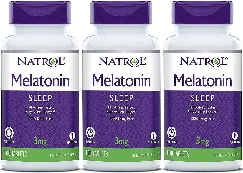 Natrol Melatonin Timed Release Tablets, 3mg 100 Count (Pack of 3)