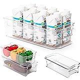 Smart Design Stackable Refrigerator Bin - (6 x 12 Inch) - w/Handle - BPA Free Polyethylene - for Fridge, Freezer, Pantry…