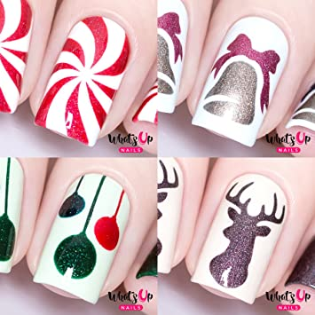 Amazon Whats Up Nails Christmas Nail Vinyl Stencils 4 Pack