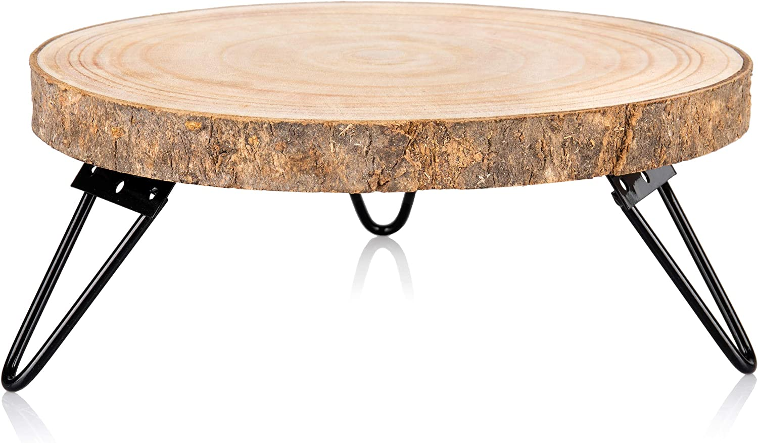 Timber Tree 10 inch Wood Cake Stand for Dessert Table - Round Rustic Cake Holder Tray Wooden Serving Platter Pedestal Centerpiece Decoration with Sturdy Hinged Metal Legs for Wedding Cakes