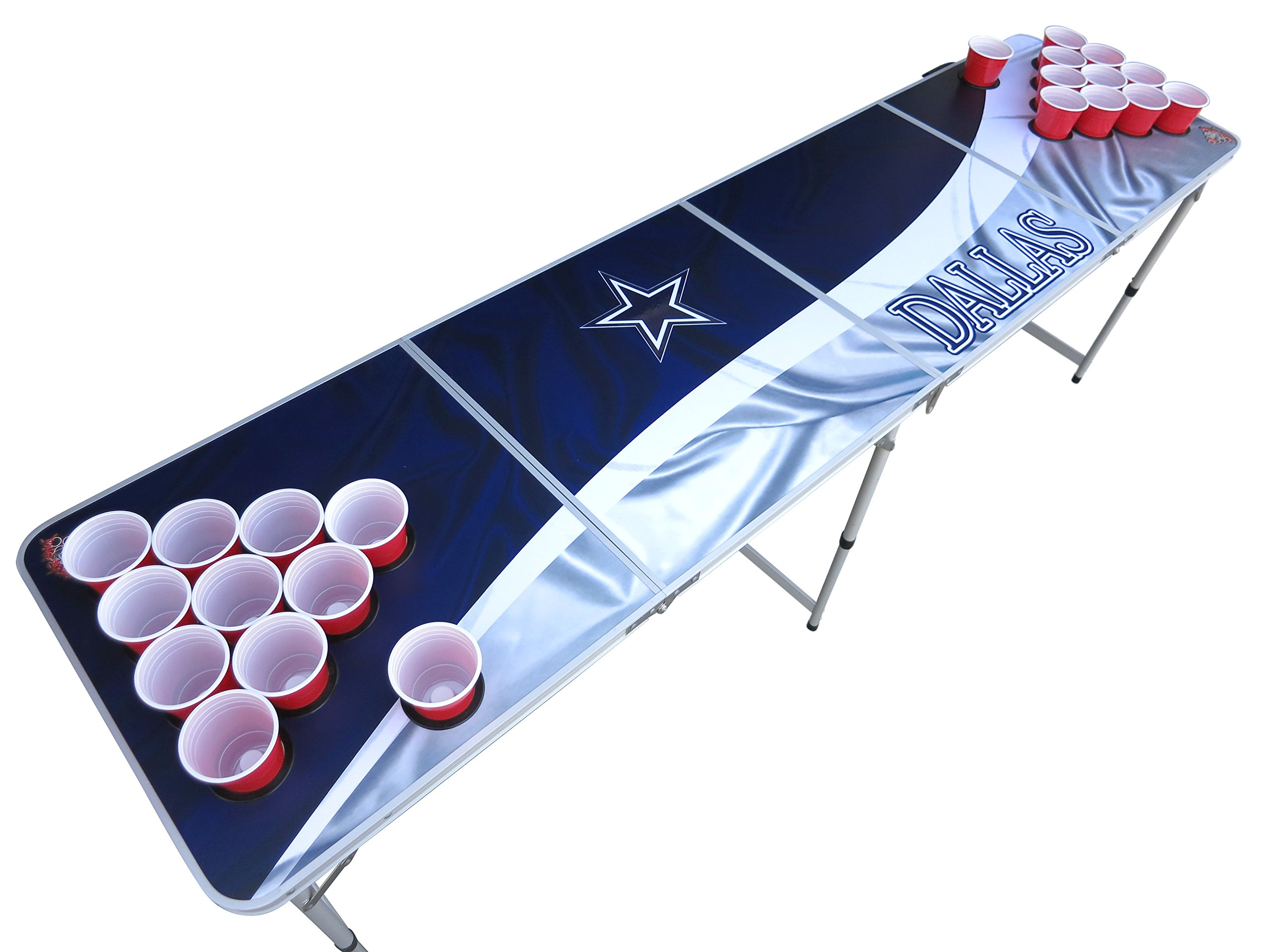 Dallas Beer Pong Table with Holes, 2x8, Aluminum, Portable