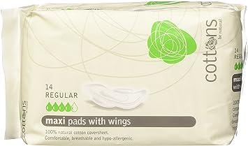 Cottons Compresa Maxi con Alas Regular Algodón 100% - 14 Unidades: Amazon.es: Salud y cuidado personal