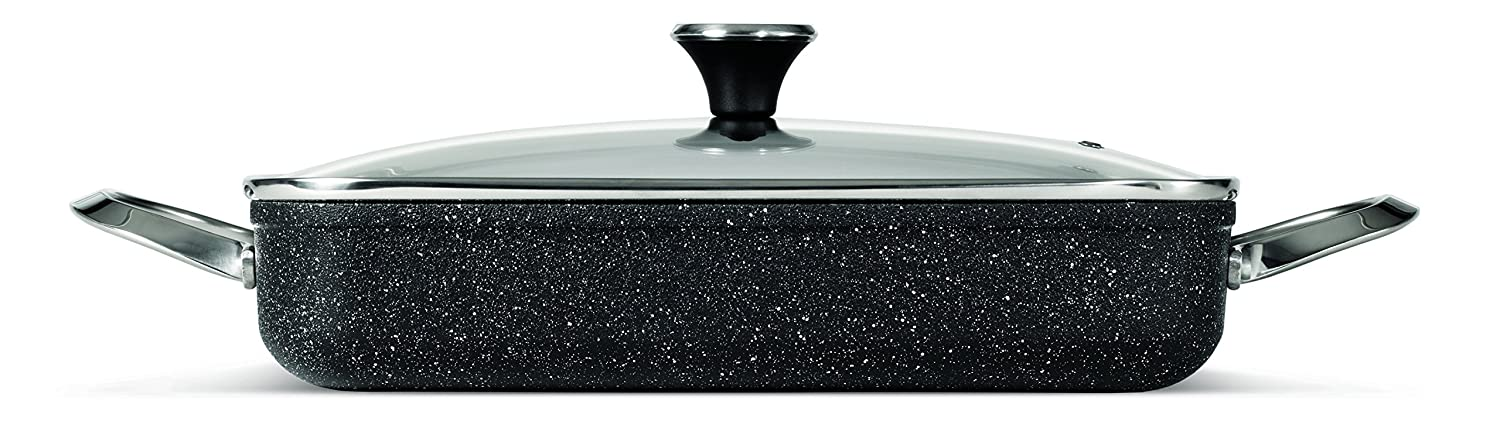 """THE ROCK by Starfrit 060741-003-0000One-Pot 5.3-Quart Rectangular Dish with Lid, 9"""" x 13"""", Black"""