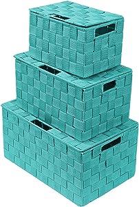 Sorbus Storage Box Woven Basket Bin Container Tote Cube Organizer Set Stackable Storage Basket Woven Strap Shelf Organizer Built-in Carry Handles (Aqua)