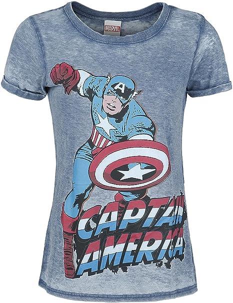 Capitán América Burnout Washed Camiseta Mujer Azul, Vintage Corte Normal
