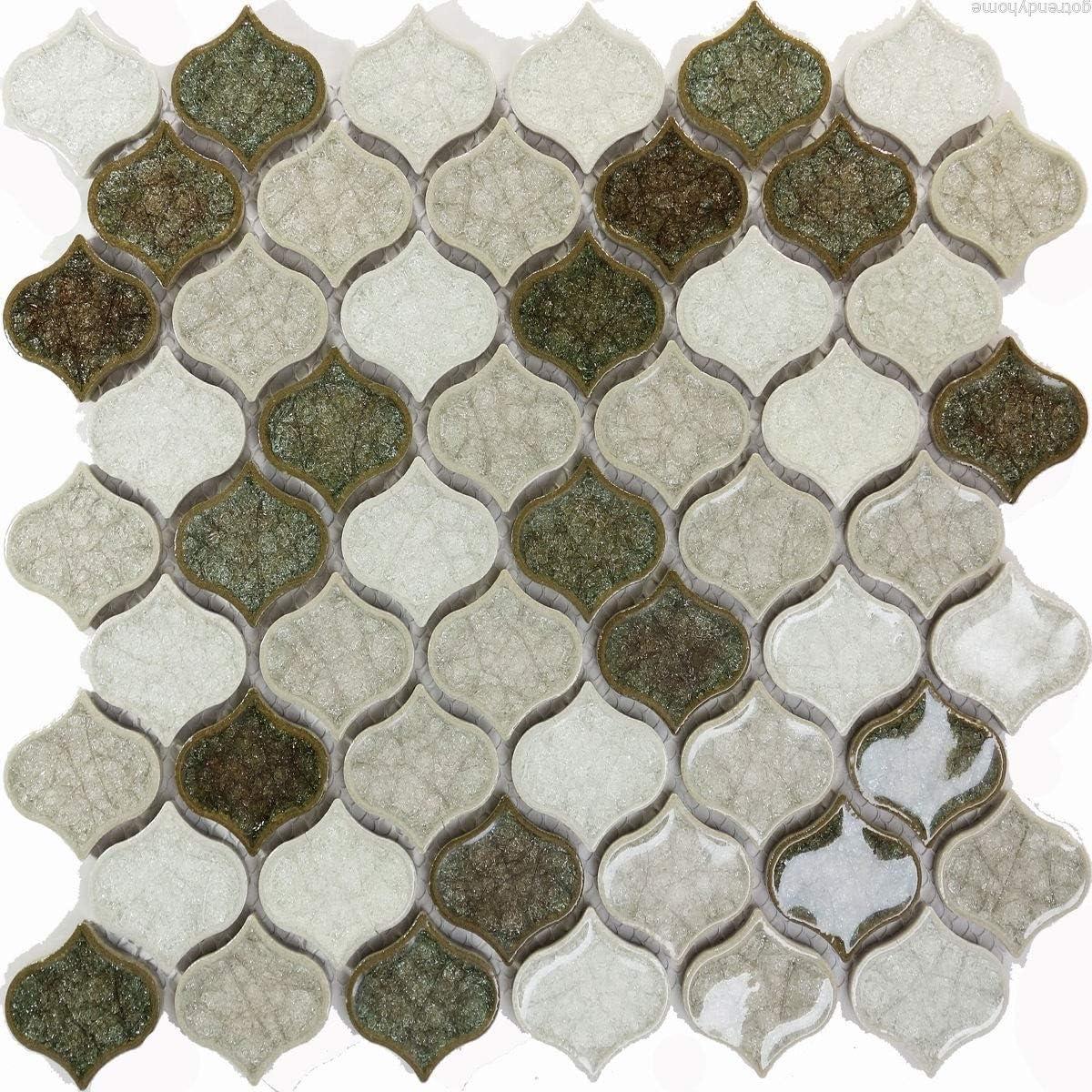 Sample Green White Crackle Glass Pattern Blend Mosaic Tile Backsplash Kitchen