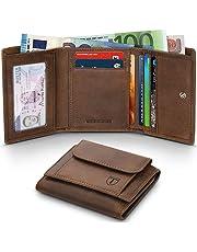 7b532c7297 Portafoglio Uomo Blocco RFID Slim Vera Pelle d'olio Trifold Portafoglio con  Tasca della moneta