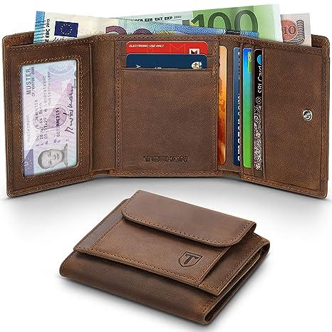 TEEHON Carteras Hombre con Monedero, Billetera de Hombre de Piel, Cartera RFID - Bloque 13.56 MHz, 10 Ranuras para Tarjetas/Monedas/ID/Billetes, Retro ...