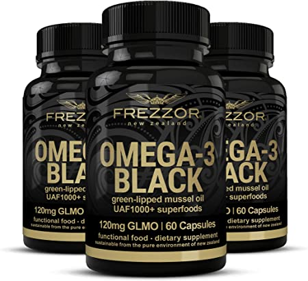 FREZZOR Omega-3 Black-450mg Green Lipped Mussel Oil New Zealand UAF1000+, 3 Pack, 180 Count