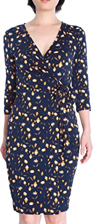 May/&Maya Womens Vibrant Colors Pattern Fit Flare Short Sleeves Dress with Ruching Bodice Sweetheart Neckline