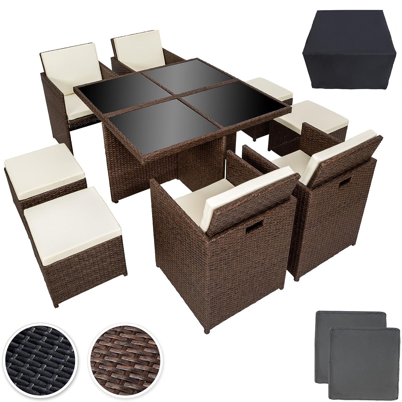 Tectake Poly Rattan Aluminium 414 Sitzgruppe Cube 4 Stühle 1 Tisch