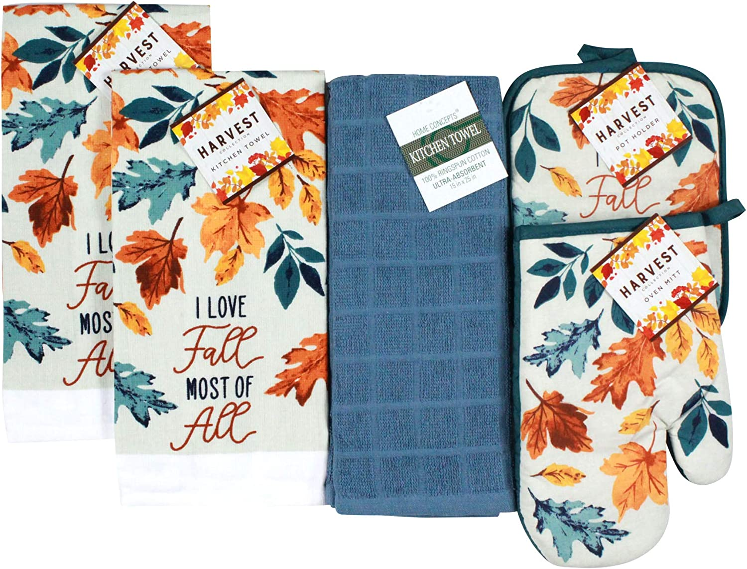 Nantucket Home Love Fall Fun Kitchen Dish Towels Pot Holder Oven Mitt Set, 4pc: Colorful Autumn Leaves of Orange, Yellow, and Teal on Beige Background.