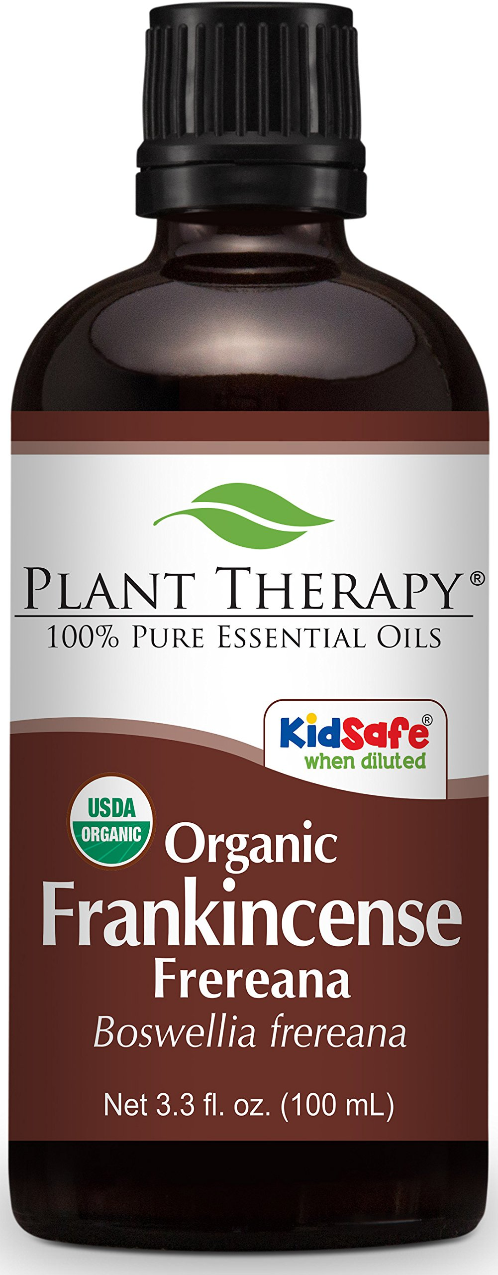 Plant Therapy USDA Certified Organic Frankincense Frereana Essential Oil. 100% Pure, Undiluted, Therapeutic Grade. 100 ml (3.3 oz).