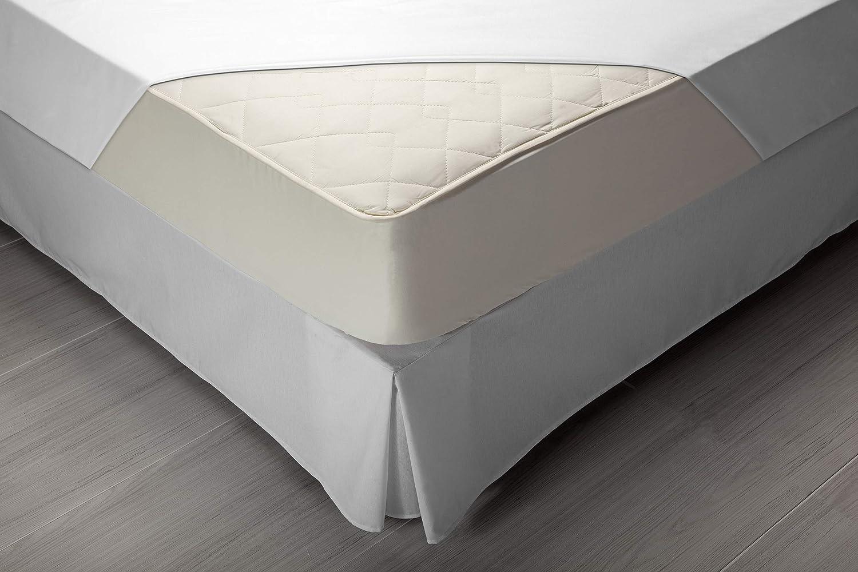 Pikolin Home - Protector de colchón acolchado cubre colchón, 100% algodón, tejido y relleno, transpirable, 190 x 200 cm, cama 180 cm (Todas las medidas): ...