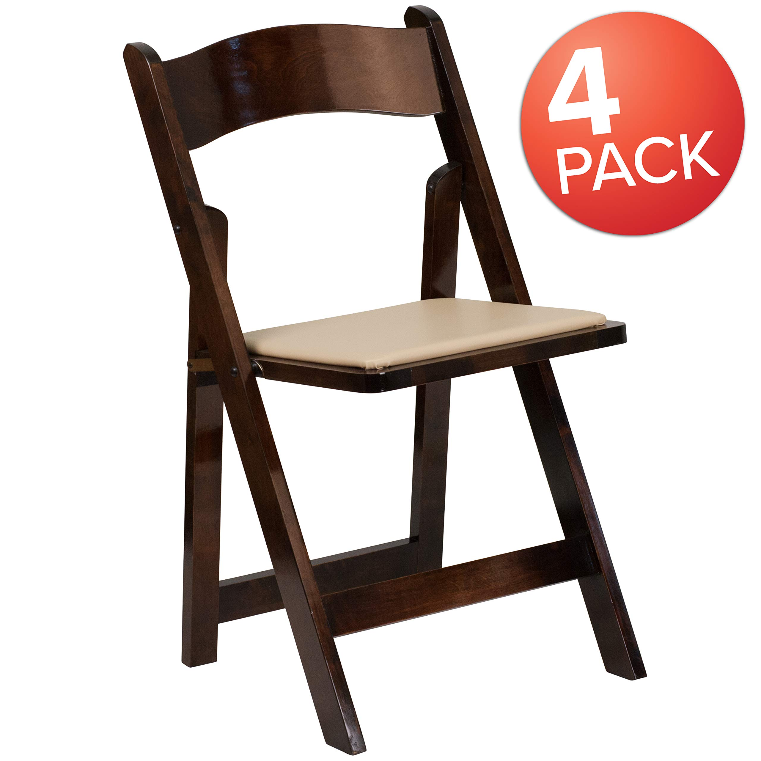 Flash Furniture 4 Pk. HERCULES Series Fruitwood Wood Folding Chair with Vinyl Padded Seat by Flash Furniture