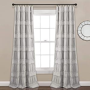 "Lush Decor, Gray Nova Ruffle Window Curtain Panel Pair, 84"" x 42"""