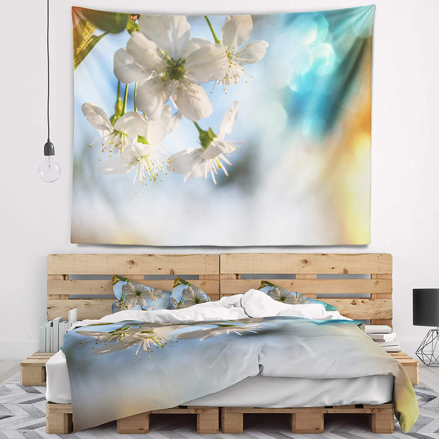 Designart TAP12425-60-50  White Blossoming Cherry Tree Floral Blanket D/écor Art for Home and Office Wall Tapestry Large 60 x 50