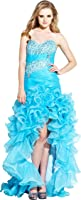 Beaded Organza High-Low Ruffle Prom Pageant Dance Dress, XS, Turquoise