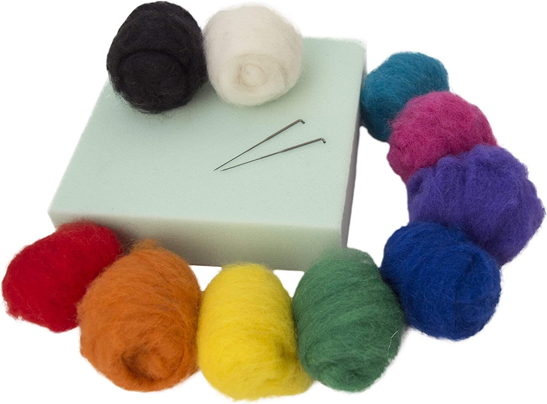 Novelfun aiguille feutrage Starter Kit Set avec 36 couleurs laine feutrage Fournitures