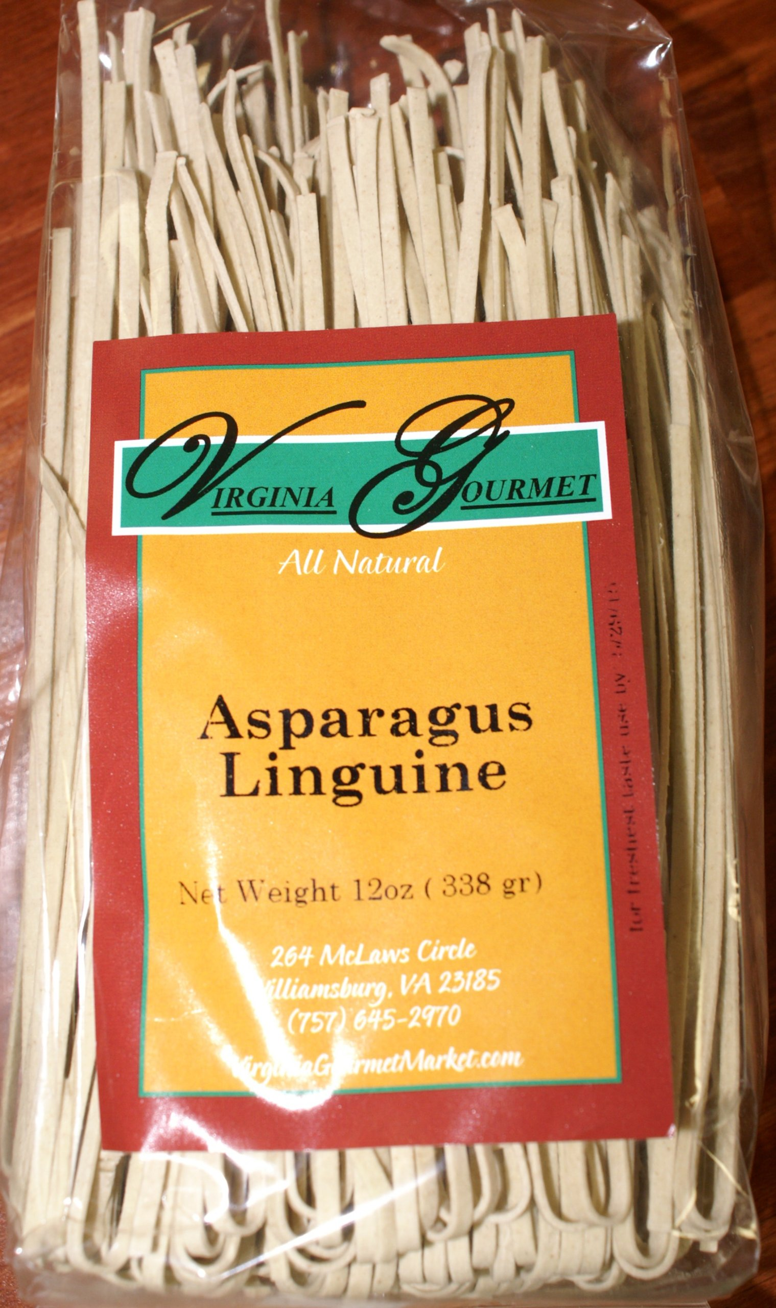 Virginia Gourmet Asparagus Linguine Vegan Pasta-6 PACK- All Natural Contains Wheat Flour Asparagus & Water