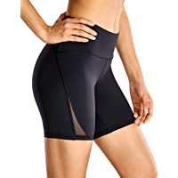 CRZ YOGA Women's Naked Feeling High Waist Mesh Sports Yoga Workout Shorts with Back Zip Pocket - 6 Inches