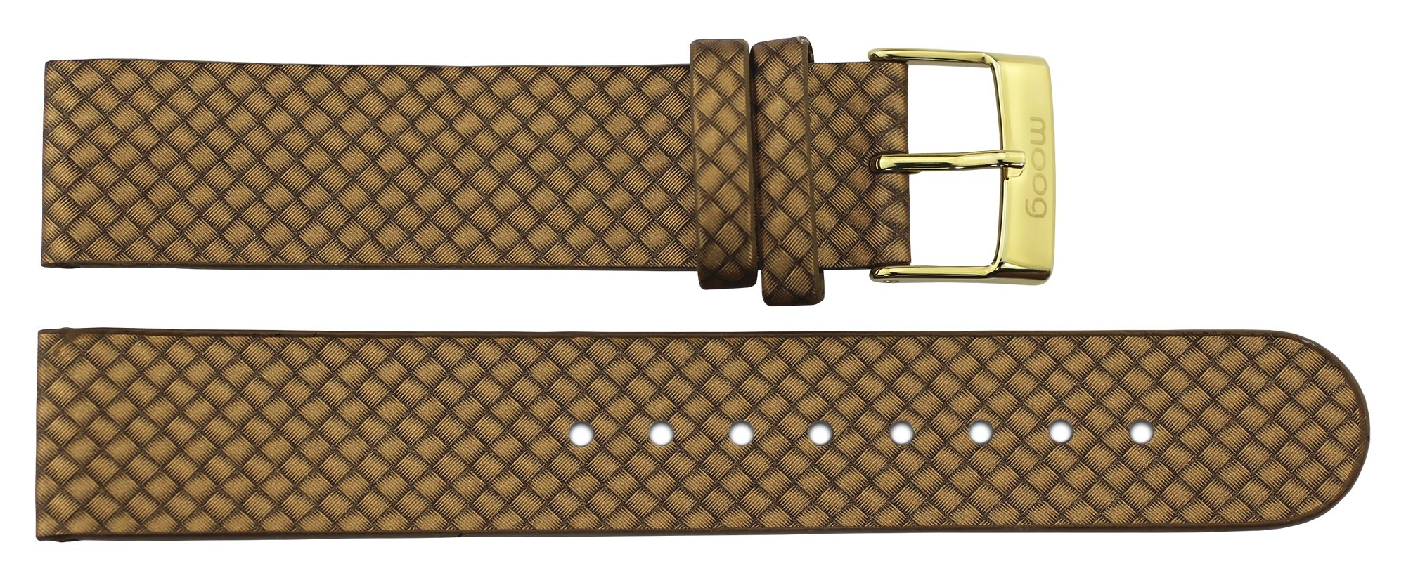 Moog Paris Gold Leather Band Replacement, Pin Clasp, 18mm Strap _ B18010