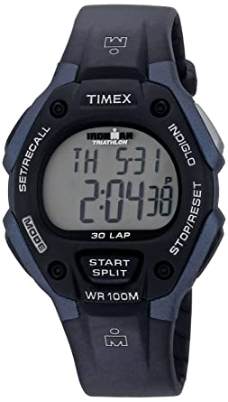 58243155c40a Timex Men s T5H591 Ironman Classic 30 Full-Size Black Blue Resin Strap Watch