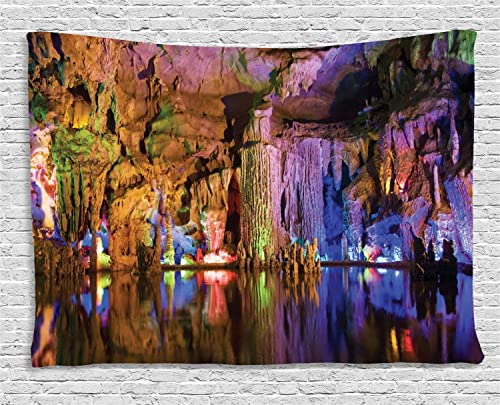 Ambesonne Guilin Tapestry, Image of Stalactite and Stalagmite Formations Assembly Dragon Cave Yangshuo, Wide Wall Hanging for Bedroom Living Room Dorm, 60 X 40 , Multicolor