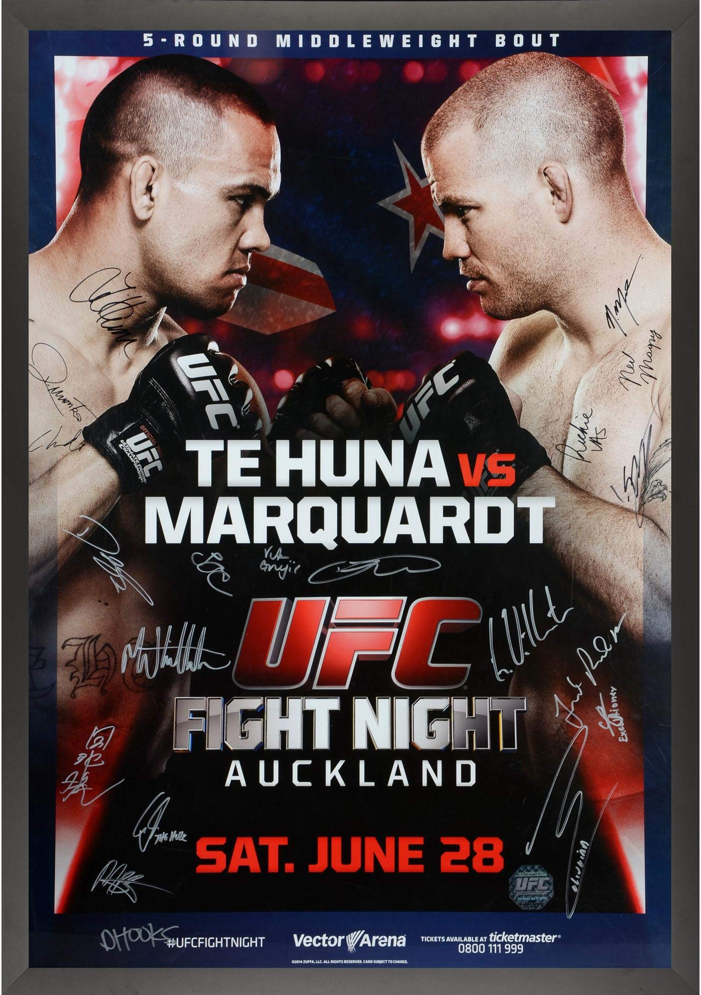 "UFC Fight Night 43 Te Huna vs. Marquardt Framed Autographed 27"" x 39"" 20 Signature Fight Poster Fanatics Authentic Certified"