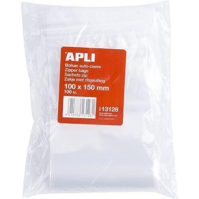APLI 13128 - Pack de 100 bolsas de plástico con autocierre, 100 x 150 mm