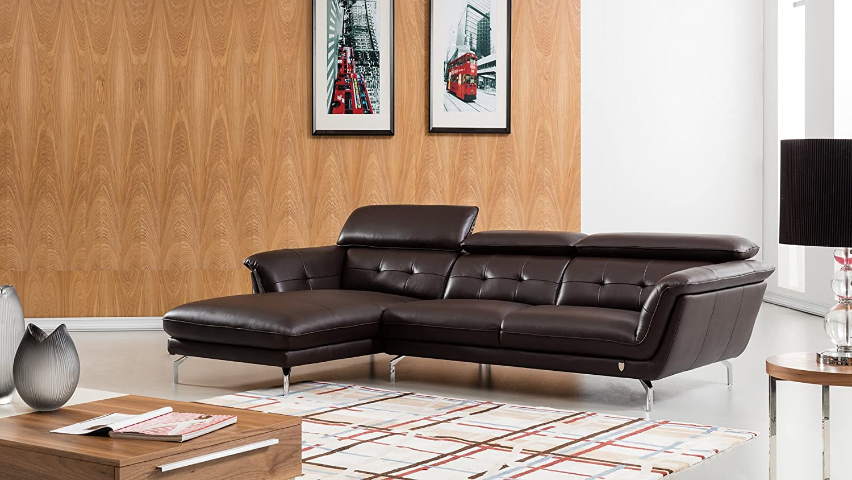 Amazon com american eagle furniture ek l083r dc fremont modern italian leather left facing sectional 111 dark chocolate kitchen dining