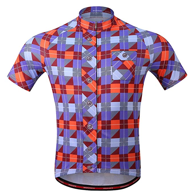 Amazon.com  WOSAWE Men s Plaid Cycling Jersey Short Sleeves Printed ... 4aa4523d1