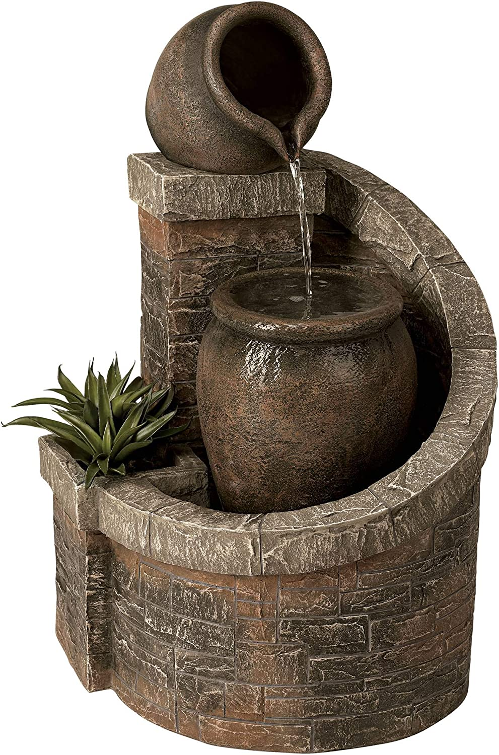 "John Timberland Verona Faux Brick Indoor/Outdoor 35"" H Garden LED Fountain"