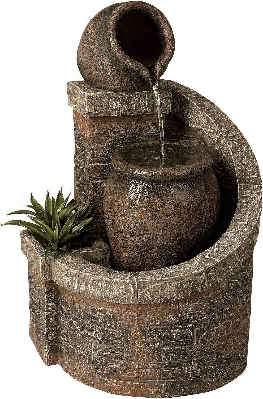 "John Timberland Verona Faux Brick Indoor/Outdoor 35"" H Garden LED Fountain"