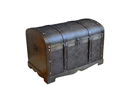Styled Shopping Antique Victorian Wood Trunk Wooden Treasure Hope Chest    Medium Size