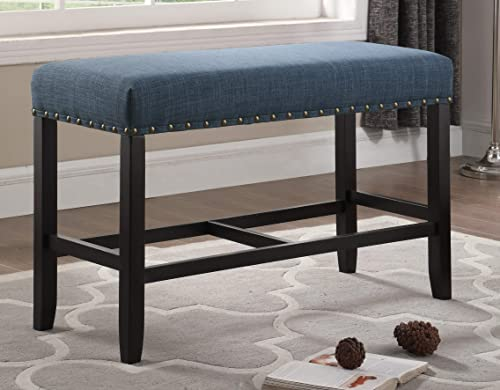 Roundhill Furniture Biony Fabric Counter Height Dining Bench with Nailhead Trim, Blue
